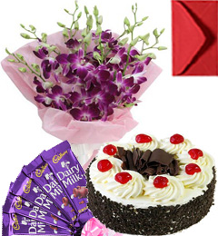 Eggless Black Forest Cake Orchid Bouquet N Chocolate