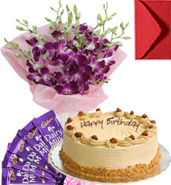 Eggless Butterscotch Cake Orchid Bouquet N Chocolate