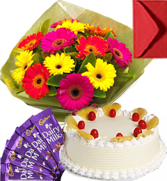 Eggless Pineapple Cake Gerbera Bouquet N Chocolate