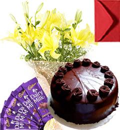 Eggless Chocolate Truffle Cake Lilies Bouquet N Chocolate