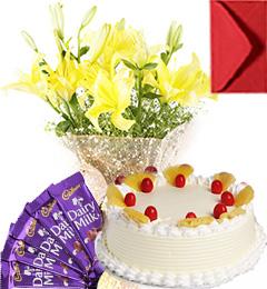 Eggless Pineapple Cake Lilies Bouquet N Chocolate