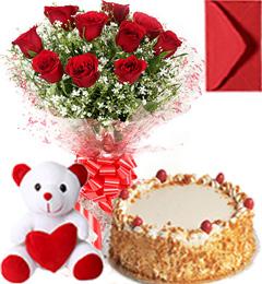 Eggless Butterscotch Cake Roses Bouquet N Teddy