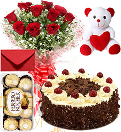 Eggless Black Forest Cake Roses Bouquet Teddy N Ferrero Rocher Box