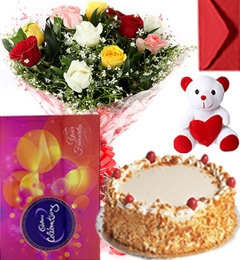 Eggless Butterscotch Cake Mix Roses Bouquet Teddy N Cadbury Celebration Box