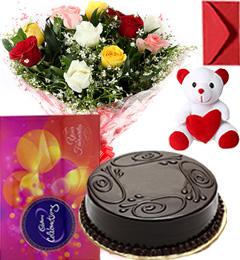 Eggless Chocolate Traffle Cake Mix Roses Bouquet Teddy N Cadbury Celebration Box