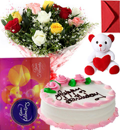 Eggless Strawberry Cake Mix Roses Bouquet Teddy N Cadbury Celebration Box
