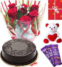 Eggless Chocolate Traffle Cake Roses Teddy Chocolate Starter Combo
