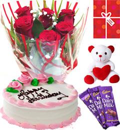 Eggless Strawberry Cake Roses Teddy Chocolate Starter Combo