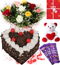 Eggless Heart Shaped Black Forest Cake Roses Teddy Chocolate Starter Combo