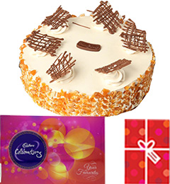 Eggless Butterscotch Cake with Cadbury Celebrations Gift Pack n Card