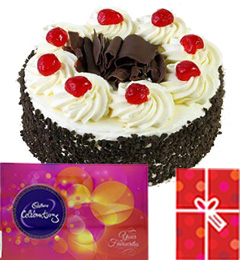 Eggless Black Forest Cake with Cadbury celebrations gift pack n Card