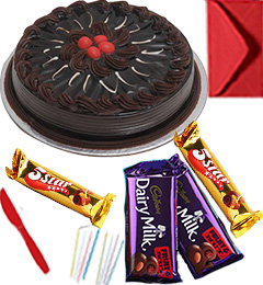 Eggless Chocolate Traffle Cake with Chocolate gift pack n Greeting Card