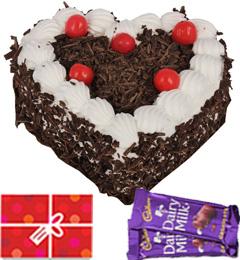 1kg Heart Shape Black Forest Cake n Chocolate n Card