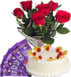 Half Kg Pineapple Cake with Red Roses Bunch n Chocolate