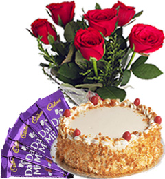 Half Kg Butterscotch Cake with Red Roses Bunch n Chocolate