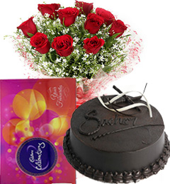 500gms Chocolate Truffle Cake N Red Roses Bouquet N Cadbury Celebrations Gifts Box
