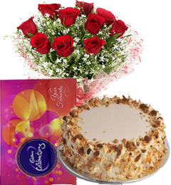 Half Kg Butterscotch Cake N Red Roses Bouquet  N Cadbury Celebrations Box