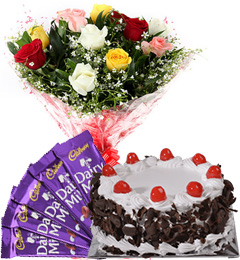 Half Kg Black Forest Cake N Mix Roses Bouquet N Chocolate