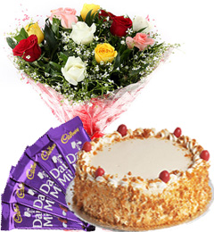 Half Kg Butterscotch Cake N Mix Roses Bouquet N Chocolate