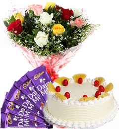 Half Kg Pineapple Cake N Mix Roses Bouquet N Chocolate