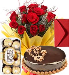 Half Kg Chocolate Truffle Cake n Roses Bouquet n Ferrero Rocher n Greeting Card