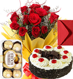 Half Kg Black Forest Cake n Roses Bouquet n Ferrero Rocher n Greeting Card