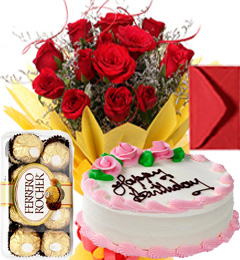 Half Kg Strawberry Cake n Roses Bouquet n Ferrero Rocher n Greeting Card