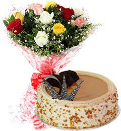 1Kg Butterscotch Cake  N Mix Roses Bouquet