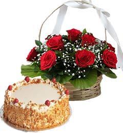1Kg Butterscotch Cake N Red Roses Basket