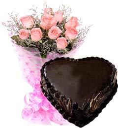 Heart Shape Chocolate Truffle Cake 1Kg N Pink Roses Bouquet