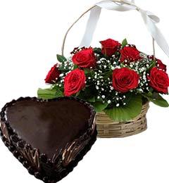 1Kg Heart Shape Chocolate Truffle Cake N Red Roses Basket