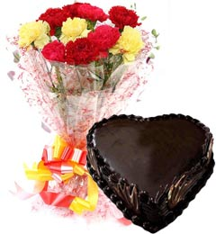 1Kg Heart Shape Chocolate Truffle Cake N Carnations Bouquet