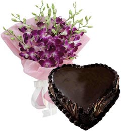 1Kg Heart Shape Chocolate Truffle Cake N Orchids Bouquet