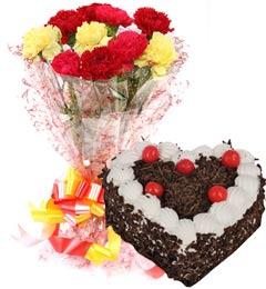 1Kg Heart Shape Black Forest Cake N Carnations Bouquet