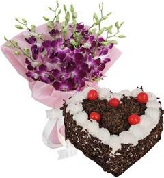 1Kg Heart Shape Black Forest Cake N 5pcs Orchids Bouquet