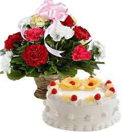 Pineapple Cake Half Kg N Carnations Basket