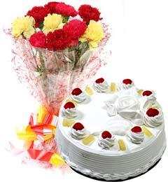 Pineapple Cake Half Kg N Carnations Bouquet