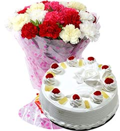 1Kg Pineapple Cake with Carnations Bouquet