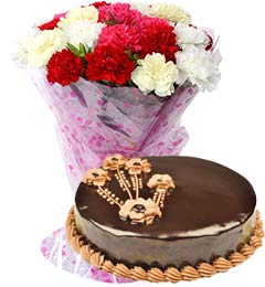 1Kg Chocolate Truffle Cake with Carnations Bouquet