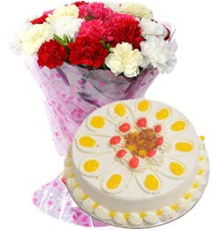 1Kg Butterscotch Cake with Carnations Bouquet