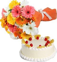Pineapple Cake Half Kg N Gerberas Bouquet
