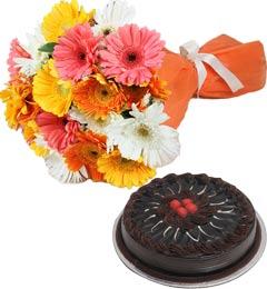 Chocolate Truffle Cake Half Kg N Gerberas Bouquet