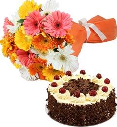 Black Forest Cake Half Kg N Gerberas Bouquet