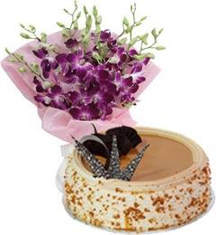 Butterscotch Cake Half Kg N Orchids Bouquet