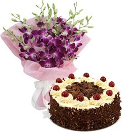 Black Forest Cake Half Kg N Orchids Bouquet