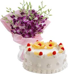 Pineapple Cake Half Kg N Orchids Bouquet