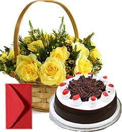Black Forest Cake Half Kg N Yellow Roses Busket