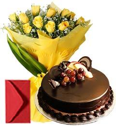 Chocolate Truffle Cake Half Kg N Yellow Roses Bouquet