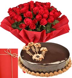 1Kg Chocolate Truffle Cake with 25 Red Roses Bouquet n Greeting Card