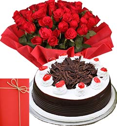 1Kg Black Forest Cake with 25 Red Roses Bouquet n Greeting Card